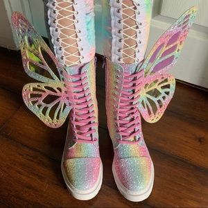 Shoes - Butterfly Boots Glitter Rainbow Wings Festival EDC